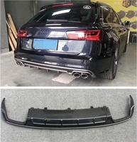 ABS Carbon Fiber Paint 4 Outlet ABS Rear Bumper Diffuser with Exhaust Tips For AUDI A6 S6 RS6 Avant C7 2015 2016 2017 2018