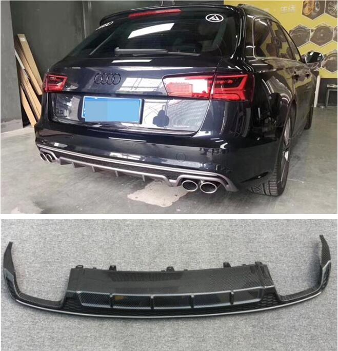 ABS Carbon Fiber Paint 4 Outlet ABS <font><b>Rear</b></font> Bumper <font><b>Diffuser</b></font> with Exhaust Tips For <font><b>AUDI</b></font> A6 <font><b>S6</b></font> RS6 Avant C7 2015 2016 2017 2018 image