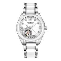 GUANQIN GJ16038 Top Brand New Watch Women skeleton Mechanical Watches With Ceramic Band And Rhinestone Case relogio feminino