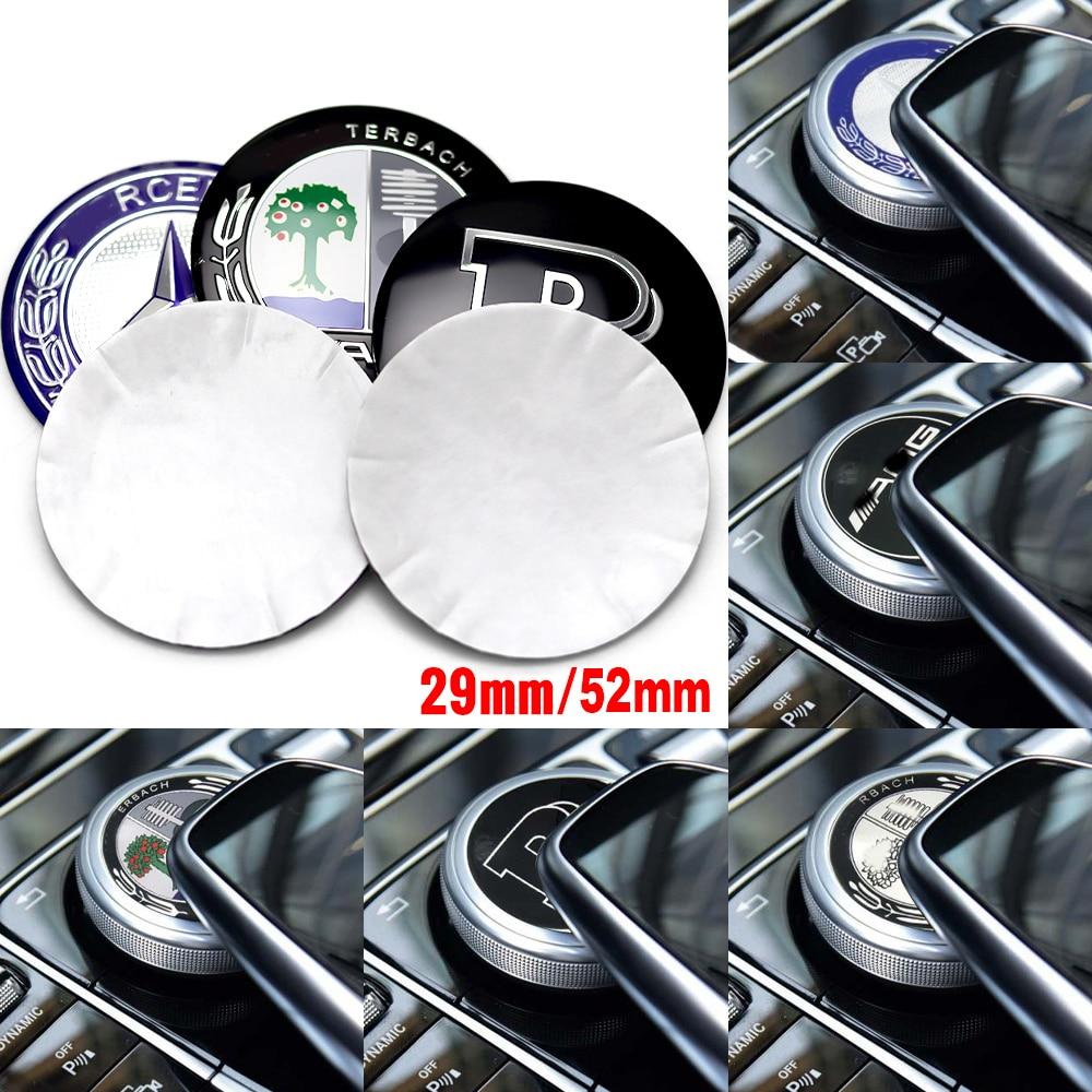 Interior do carro multimídia botões 29mm 52mm emblema adesivo para amg mercedes benz w212 w205 w204 amg apple tree emblema decoração