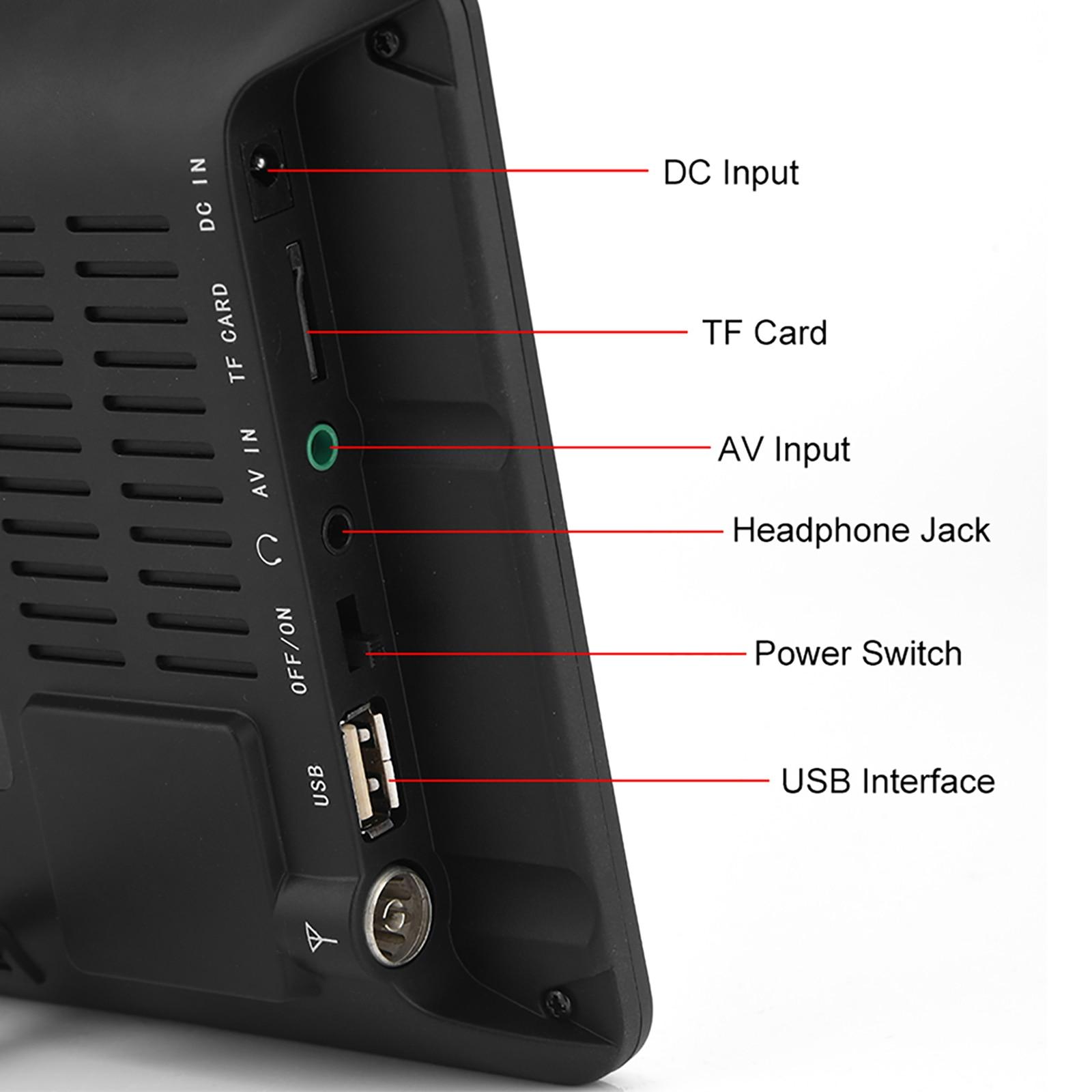 9 Inch HD Portable Digital TV DVB-T2 ATSC ISDB-T TDT Analog Mini Small Car Television Support USB SD Card MP4 AC3 25