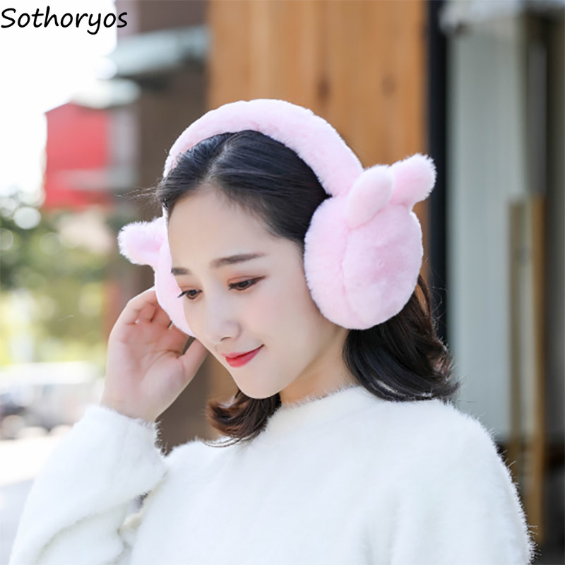 Earmuffs Women Sweet Pink Patchwork Winter Warm Korean Style High Quality Kawaii Soft Students Harajuku Womens Accessories Daily