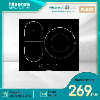 Cocina de inducción vitroceramica Hisense I6337C de 3 quemadores 7100W touch control