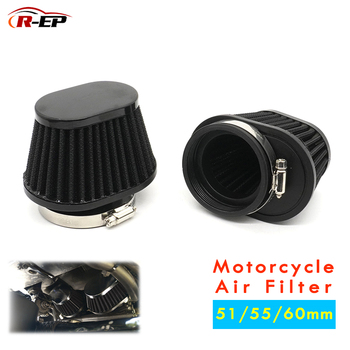 R-EP Motorcycle Air Filter 60mm 55mm 51mm Universal for Motor Car Minibike Cold Air Intake High Flow Cone Filter UN073 universal car air filter 76mm 3in cone shaped high flow cold air intake mesh filter black mushroom head motorbike cleaner new