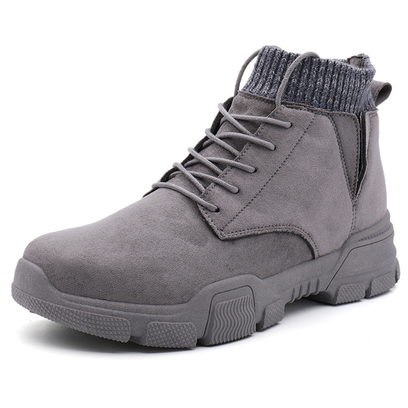 Men Casual Suede Leather Boots Cotton Lined Tool Boots Fashion Boots For Man Platform Outdoor Antiskid Hike Walk Sports Sneaker