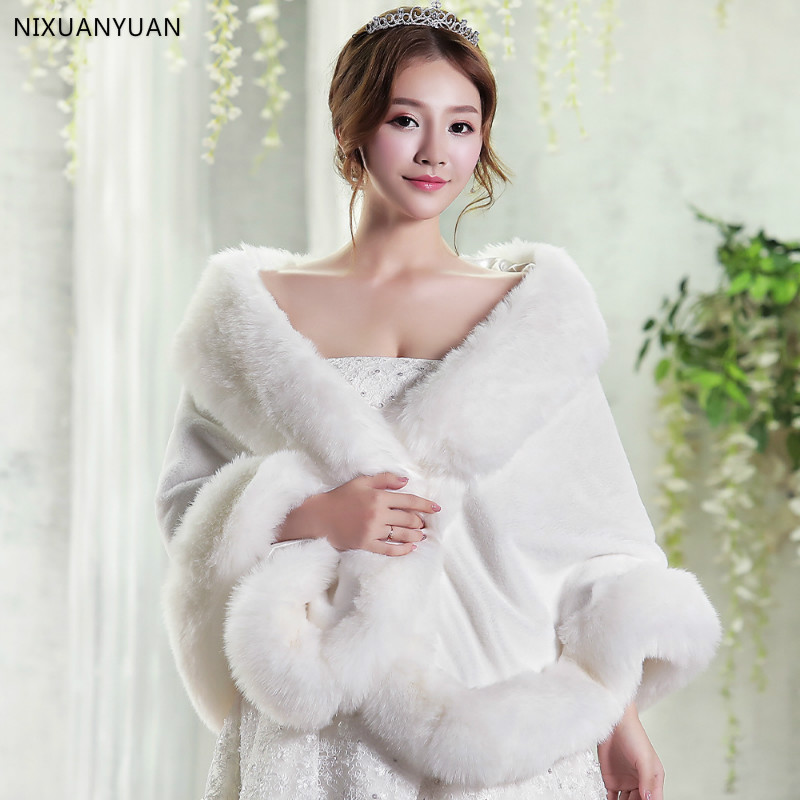 Red/White Wedding Bolero Winter Bridal Shrug Faux Fur Wedding Shawls Wome Wraps Bridal Jacket Party Coat Bridal Shawl