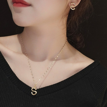 Letters Chain Pendants Necklaces Women's Hip Hop Jewelry with Letters Gold Earrings Party Wedding for Women Gift Jewelry sets