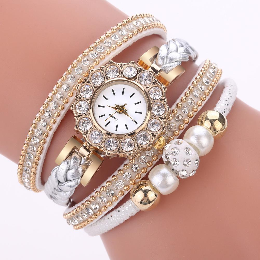 Women's Watches Retro Multilayer Beads Braided Bracelet Round Dial Quartz Wrist Watch Gift Clock Ladies Dress Watches Gift Luxur