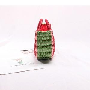 Image 2 - Seaside vacation beach straw bag female portable cute watermelon bag new fashion hand woven bag