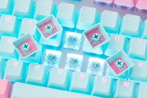 Image 5 - taihao pbt double shot keycaps for diy gaming mechanical keyboard Backlit Caps oem profile light through Miami Cyan Magenta