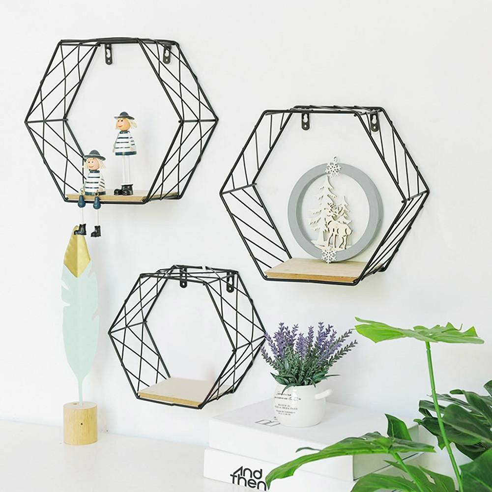Hot Iron Hexagonal Grid Wall Mounted Shelf Hanging Storage Rack Living Room Decor  Newhome Decoration Decoracion Hogar