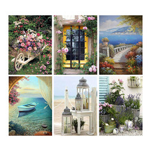 Full Square Drill Diamond Painting Flower River Scenery Mosaic Landscape Picture Rhinestone Home Decor