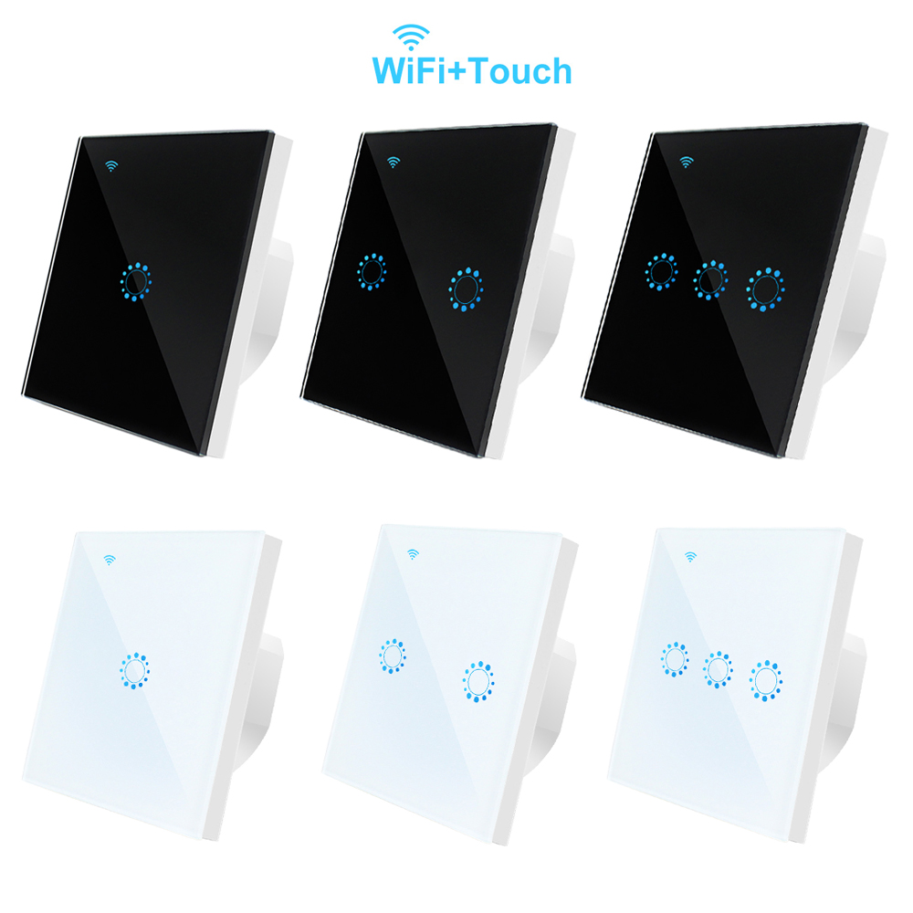 Intelligent WIFI Glass Panel Switch EU Standard 220V LED Light Lamp Touch Switch APP Remote Control 1/2/3 Gang Smart WIFI Switch