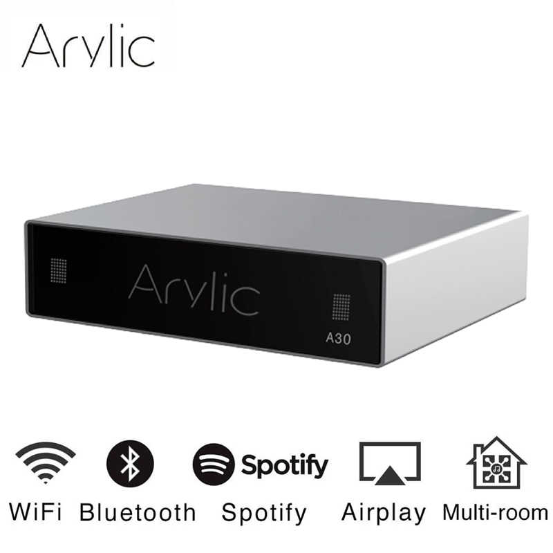 Akrilik A30 WiFi ve Bluetooth 5.0 Mini ev amplifikatör HiFi Stereo D sınıfı dijital multiroom ile Spotify Airplay ekolayzır