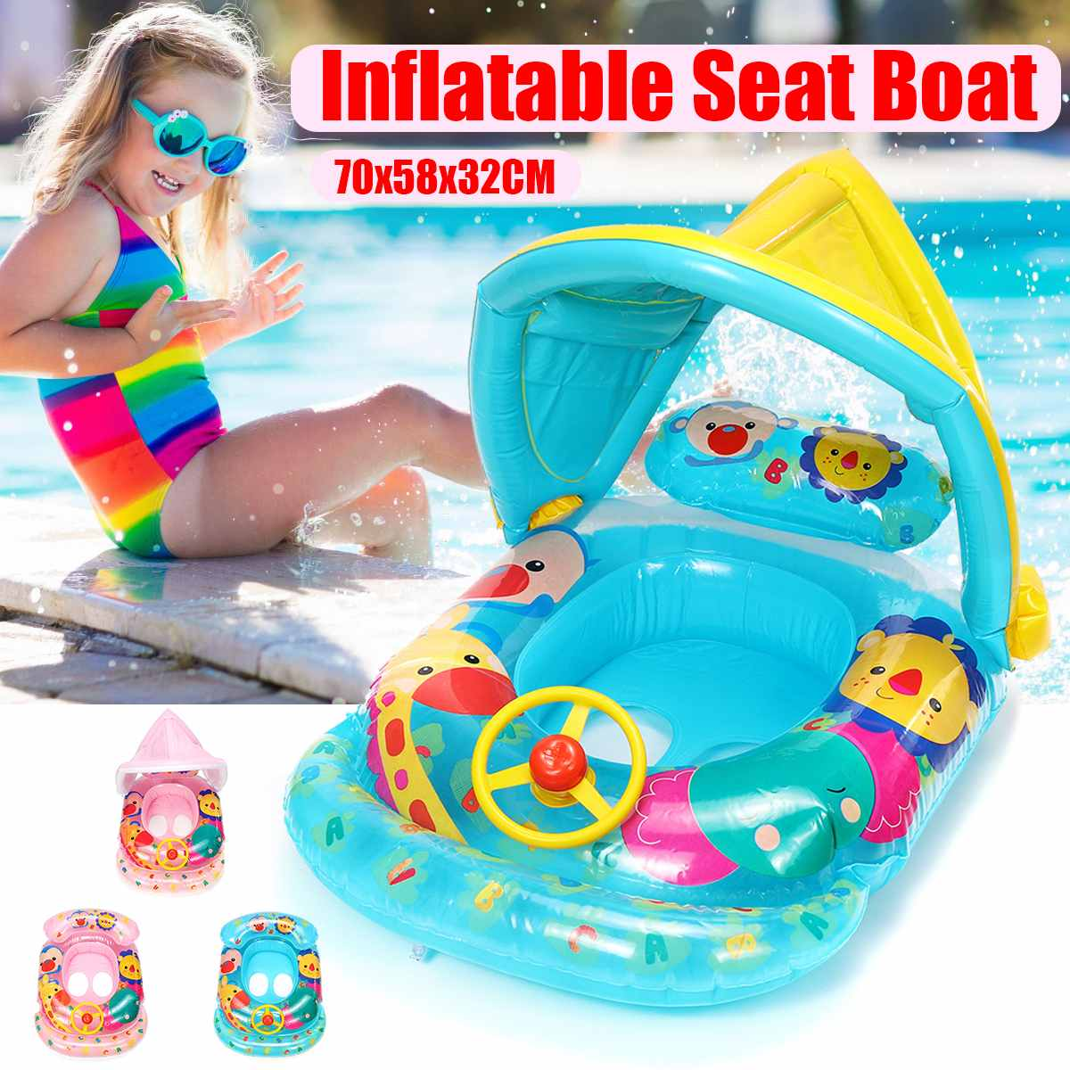 Summer Inflatable Sunshade Baby Kids Float Seat Boat Children Swim Pool Swimming Ring Water Fun Pool Toys Removable Sunshade