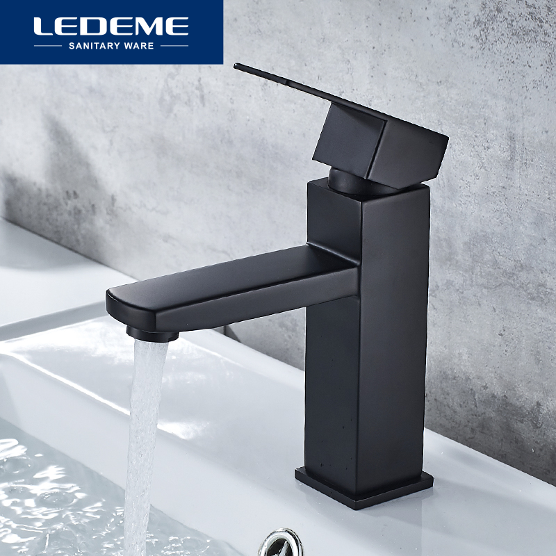 LEDEME Basin Faucet Black Spray Paint Bathroom Faucet Basin Mixer Hot And Cold Water Mixer Sink Basin Taps Faucets L71033B