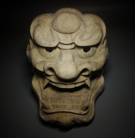 Lion Face Japanese Noh Mask Craftsman Carving Real Wood Statue Drawing Pattern Wall Hanging Wall Decoration Home Decor