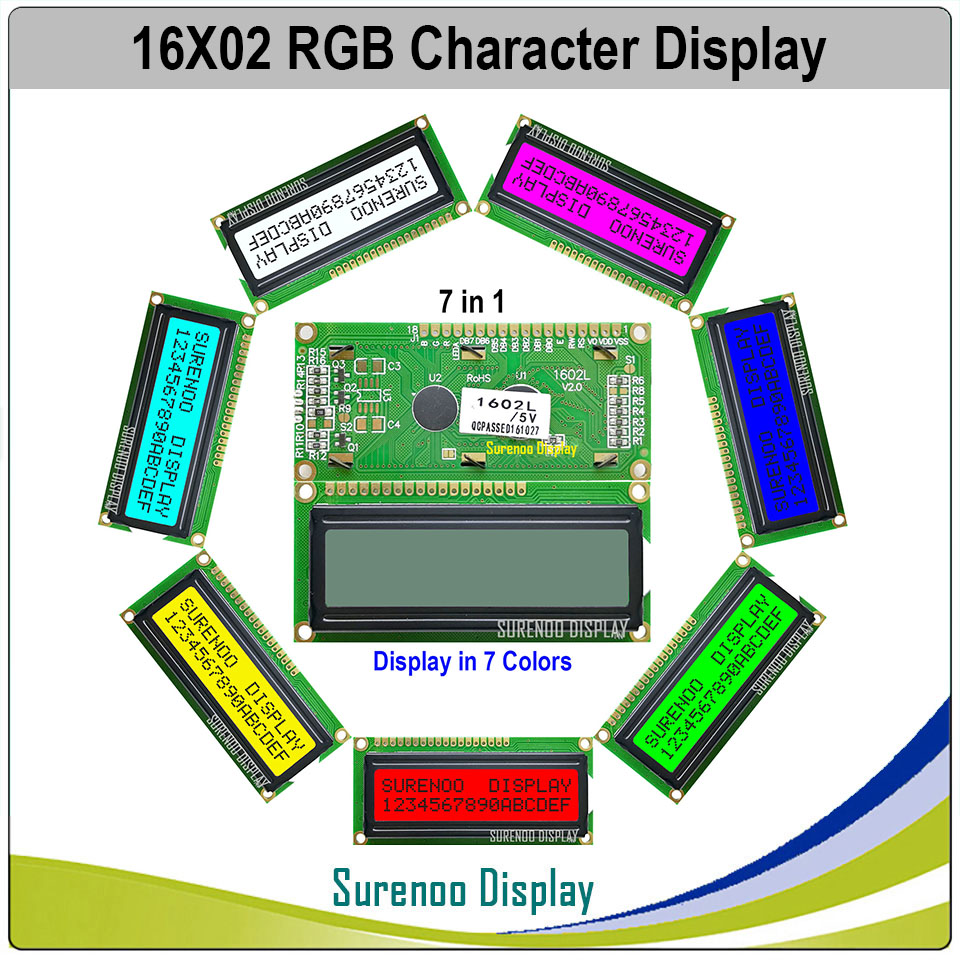 162 16X2 1602 5V Character LCD Module Display Screen LCM FSTN Positive With 7 Colors RGB Backlight (Black On RGB)