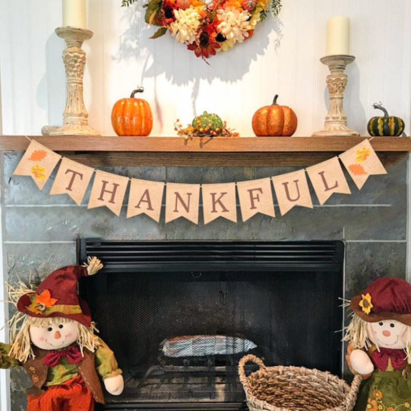 fall harvest decorations outdoors thankful letters banner with maple pattern for indoor outdoor fall  thankful letters banner with maple
