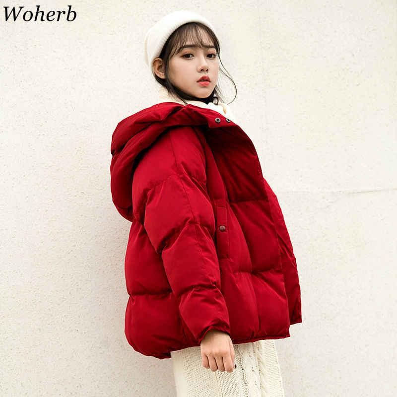 Woherb แฟชั่นฤดูหนาว Parka ผู้หญิง 2020 หลวมผ้าฝ้ายหนาลง Parkas เสื้อโค้ทหญิง Slim สั้นแจ็คเก็ต Outwear เกาหลีสไตล์