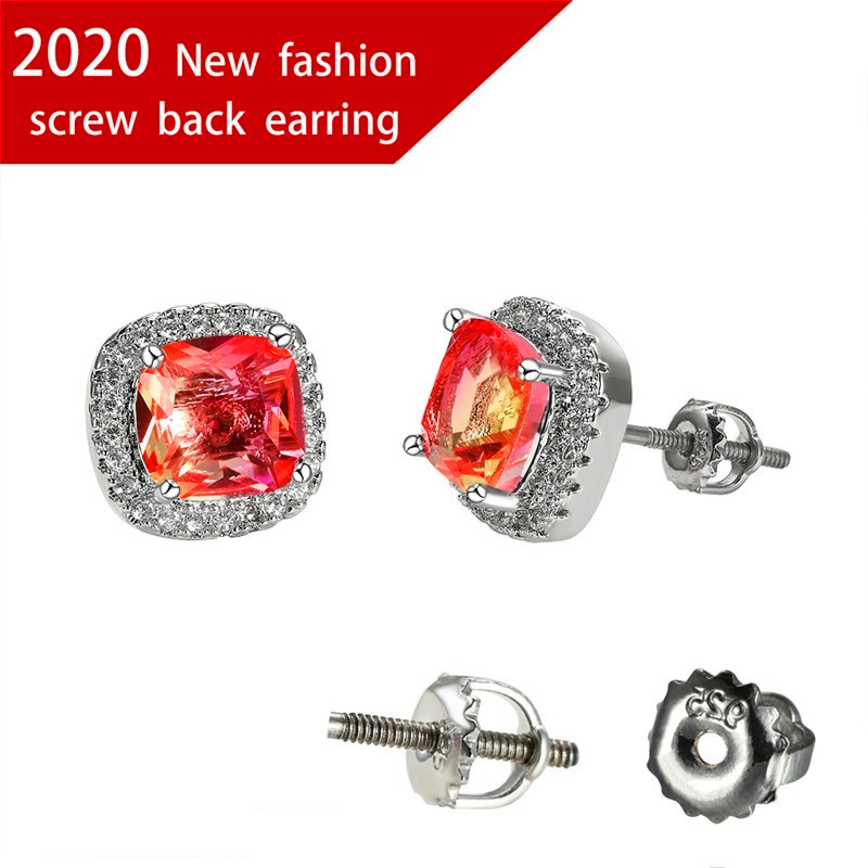 Charm Female Square Crystal Earrings Classic Silver Color Wedding Earrings For Women Vintage Zircon Spiral Small Stud Earrings