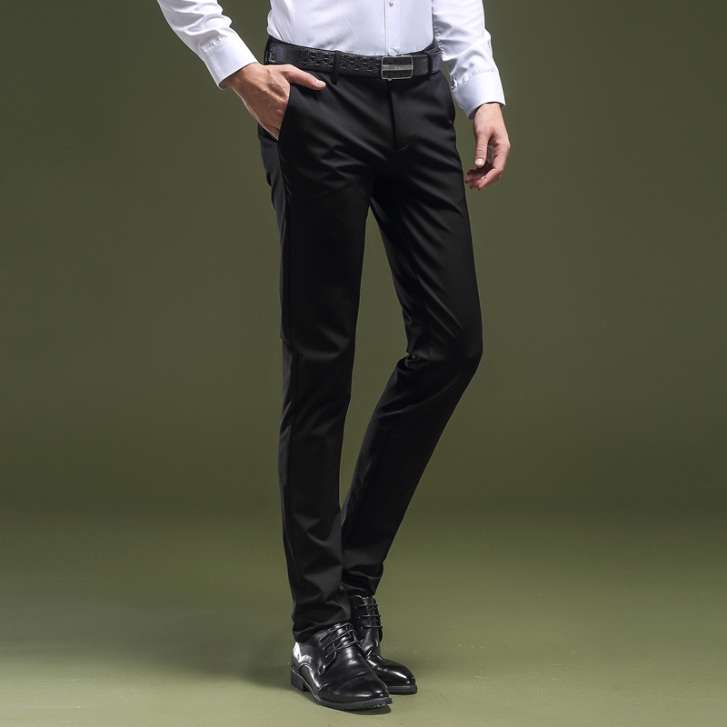 Casual Pants Men Slim Fit Korean-style Business No Ironing Suit Pants Men's Elasticity Straight-Cut Youth Small Feet Long Pants