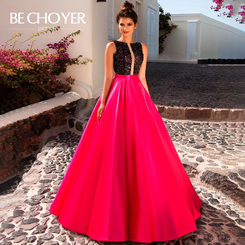 Luxury Sequins Satin Wedding Dress BECHOYER W103 Backless Sleeveless A-Line Modest Prom Party Gowns Bridal Vestido De Noiva