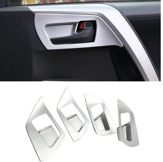 Silver Interior Door Handle Cover Trim For Toyota RAV4 2013-2017