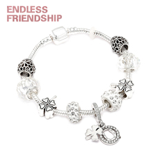 Sliver Color Four-leaf Clover Pendant Charm Bracelet fit Brand For Woman Jewelry Accessories Gifts