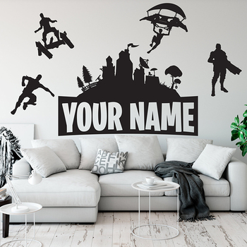 Customed Name Wall Stickers Boys Gaming Room Vinyl Decal Kids Bedroom Wall Decor Gamer Room Decoration Accessories Castle 1