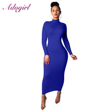 Casual Autumn Solid Long Sleeve Turtleneck Bodycon Long Dress Women Elegant Evening Party Clubwear Dresses Office Lady Vestidos elegant turtleneck long sleeve bodycon knitted midi dress autumn winter new solid casual high stretchy office lady dress vestido