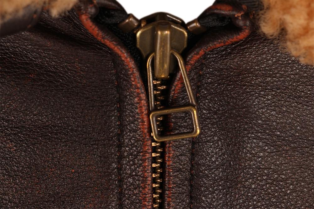 H870595aa927a4a78b69e184ca59d7f35U Vintage Distressed Men Leather Jacket Quilted Fur Collar 100% Calfskin Flight Jacket Men's Leather Jacket Man Winter Coat M253