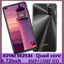 6,72 дюймовых смартфонов 4G Оперативная память + 64G Встроенная память Note 8 Pro 4 ядра 8MP + 13MP спереди/сзади Камера Android мобильных телефонов Celuares Face ID ...
