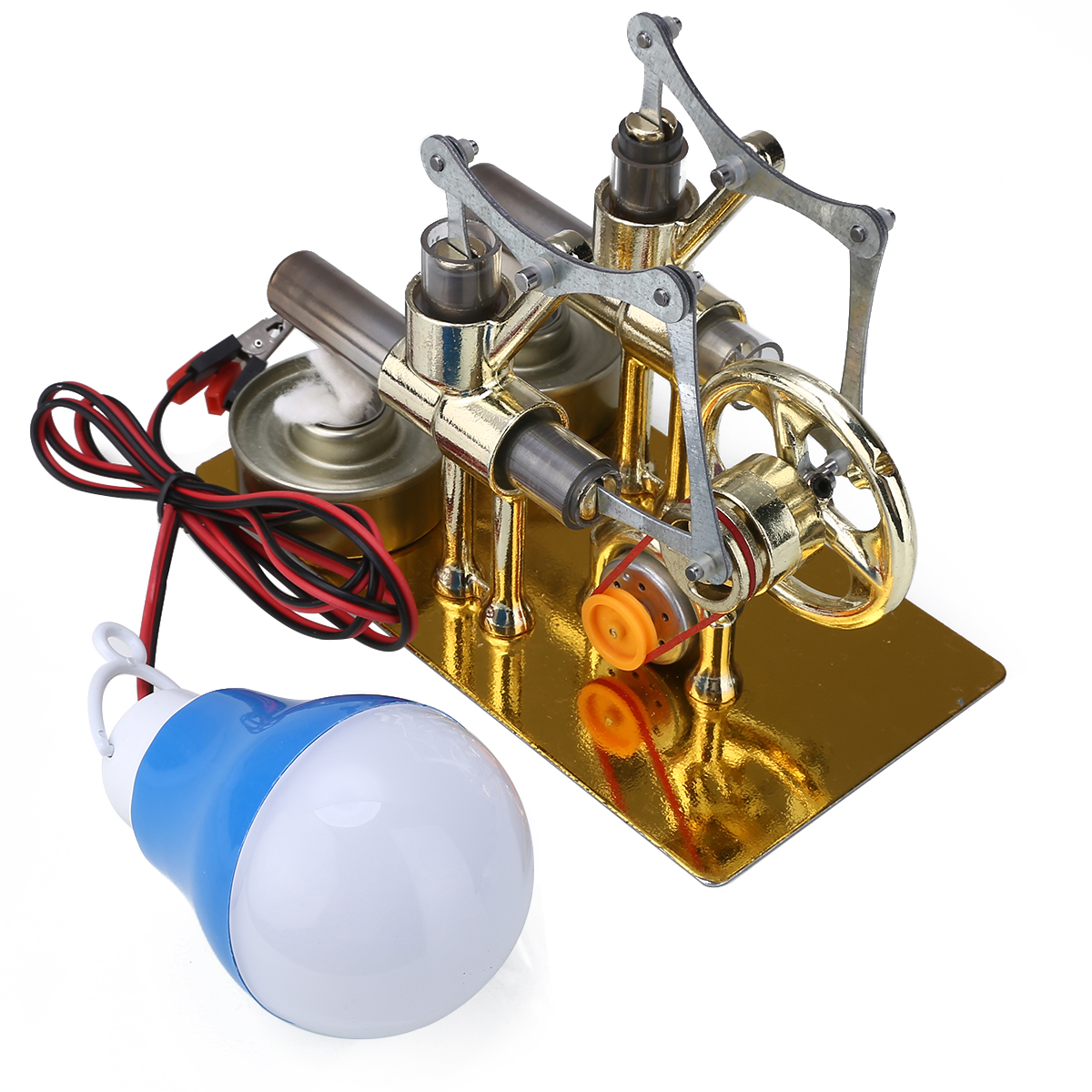 2019 New Double Cylinder Stirling Engine Motor Model Generator Miniature Toy  Heat Steam Education DIY Model Toy Gift For Kids