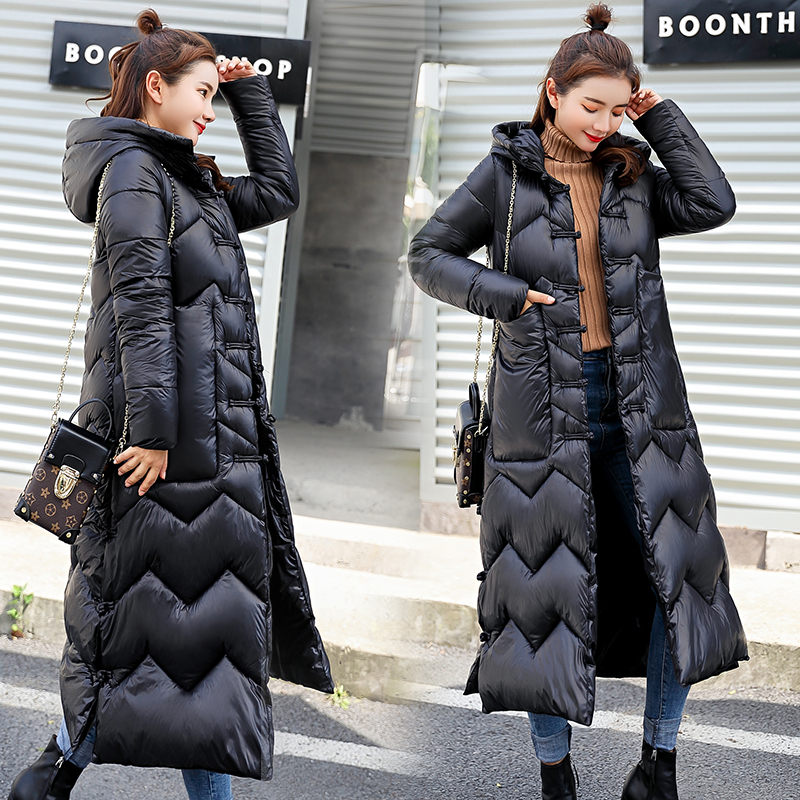 2019 New Winter Long Lap Buckle Hooded Down Cotton Cardigan Dresses Women's Fashion Jacket Elegant  Parka Mujer Chaqueta F2091