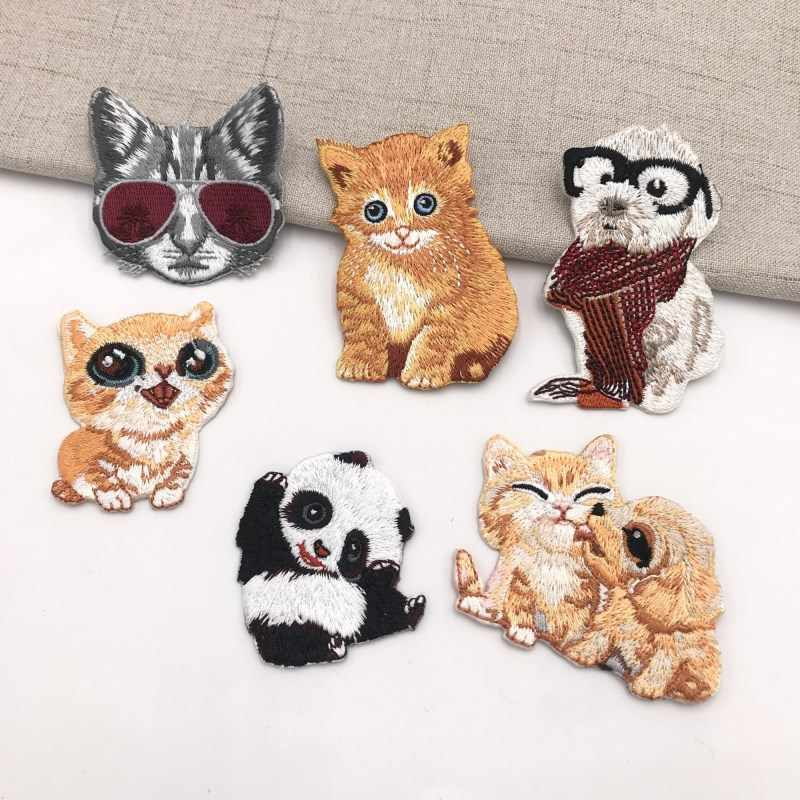 Nieuwe Animal DIY Geborduurde Patches voor Kleding Ijzer op Patch Cartoon Panda Hond Kat Badge Tiger Leuke Parches Kledingstuk Accessoire