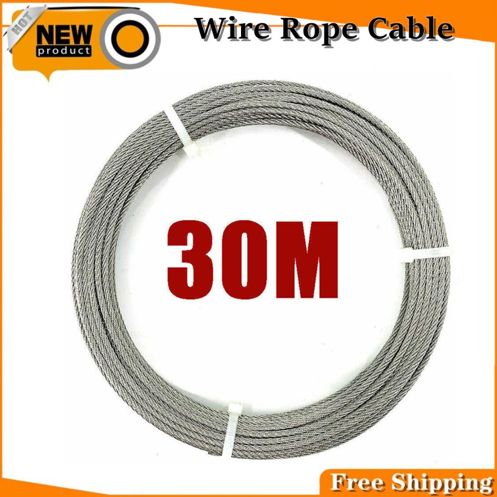 7x7 Flexible Wire Rope Soft Fishing Lifting Cable Stainless Steel T316 Stainless Clothesline Diameter 3mm 30 Meters/Roll-Free Shipping
