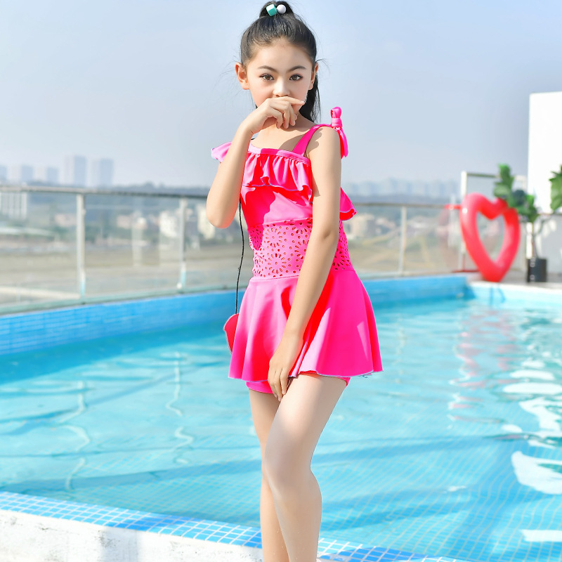 18 Europe And America Hot Sales One-piece Swimming Suit Solid Color One-Shoulder Flounced Boxer Sweet Cute Princess Girls KID'S