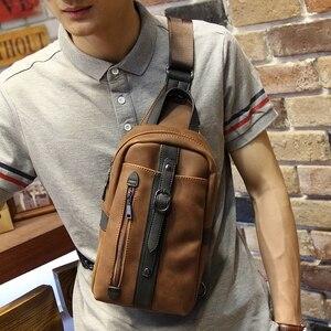 Image 1 - Neue design pu leder männer brust pack Koreanische mode casual braun schulter diagonal tasche flut männlichen Messenger sling Tasche