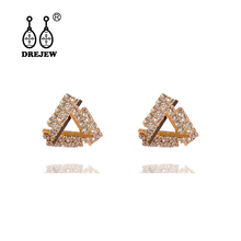 DREJEW Small Geometric Triangle Square Rhinestone Statement Earrings 2019 Gold Silver Blue 925 Stud for Women HE1911