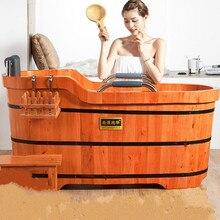 Baignoire de haute qualité en baril de cèdre pour coussin de douche pour adultes, baignoire de sécurité en bois massif