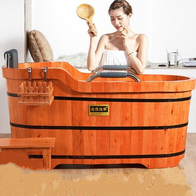 Di alta Qualità di Cedro Barile Vasca da bagno di Sicurezza di Supporto del Sedile Vasca Da Bagno Per Adulti Doccia Cuscino In Legno Massiccio Vasca da bagno