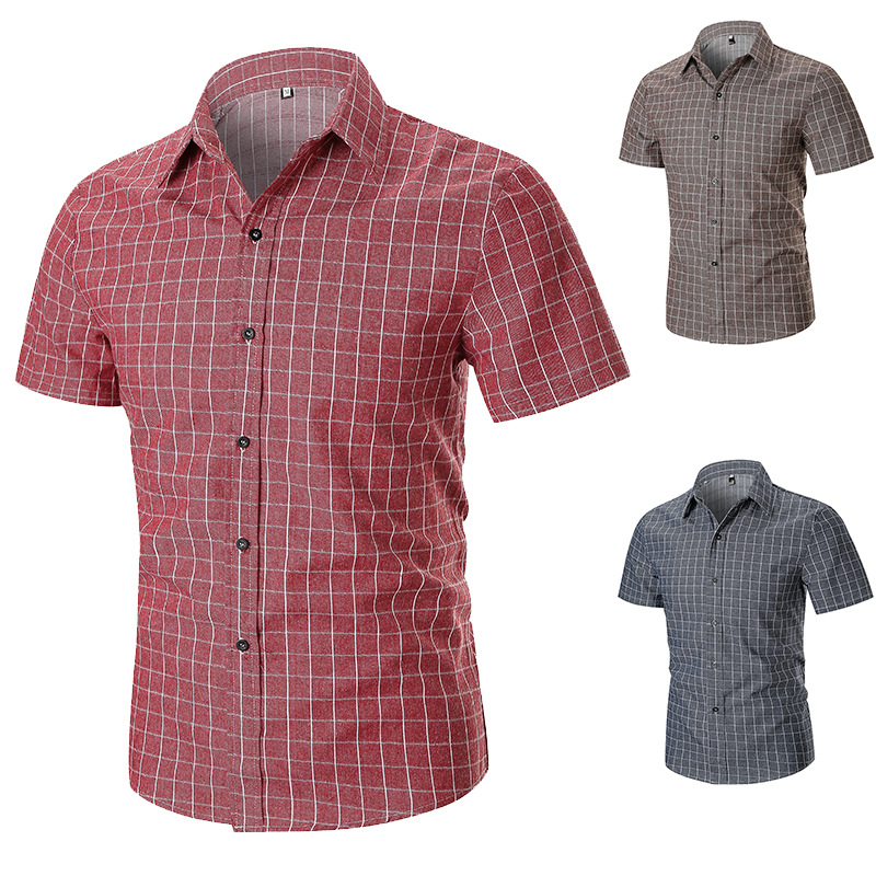 Mens Shirt Short Sleeve Plaid Button Large Size Casual Top Blouse Shirts Men Tops Summer Breathable All Match Stylish Blouses