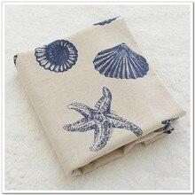 Хлопковый Льняной материал Конч печать ткань для дивана льняная скатерть наволочка шторы ручной работы плотная ткань