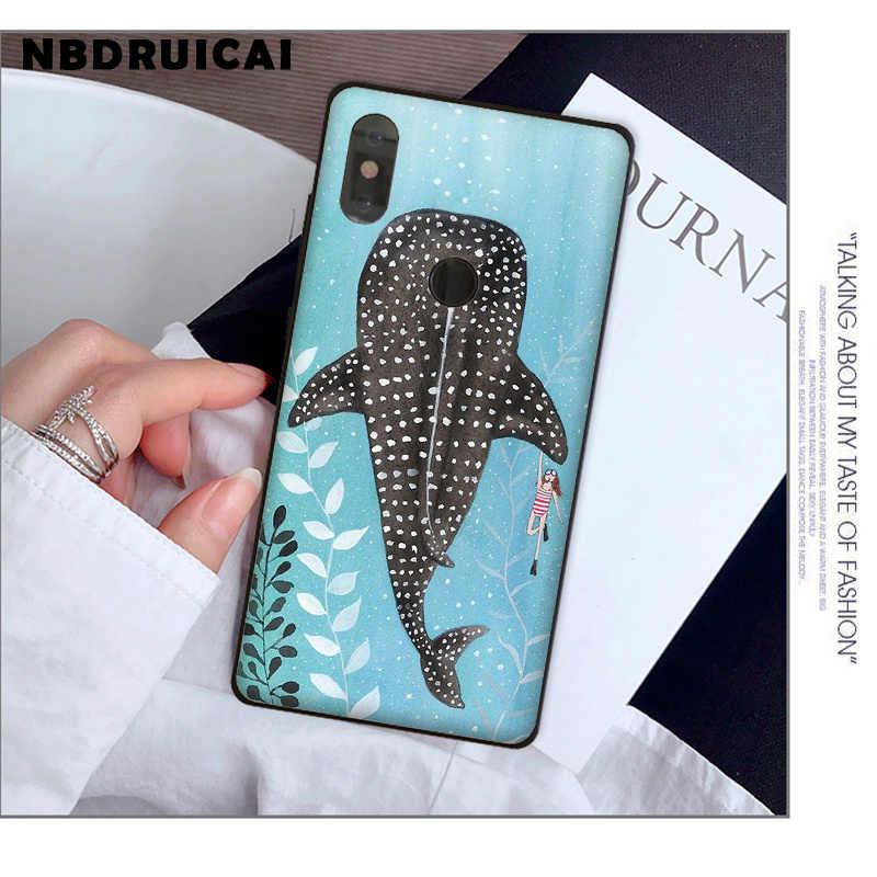 NBDRUICAI Ocean Whale Shark pływanie luksusowe miękkiego silikonu etui na telefony dla Xiaomi 8 9 se 5X Redmi 6pro 6A 4X 7 5plus uwaga 5 7 6pro
