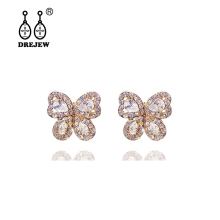 DREJEW Small Butterfly Statement Earrings Korean 925 Gold Rose Silver Crystal Alloy Drop for Women Fashion Jewelry E639