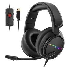 Oyun kulaklık 7.1 ses aşırı kulak kulaklık kulaklık USB mikrofon ile bas Stereo dizüstü bilgisayar marka Xiberia V20