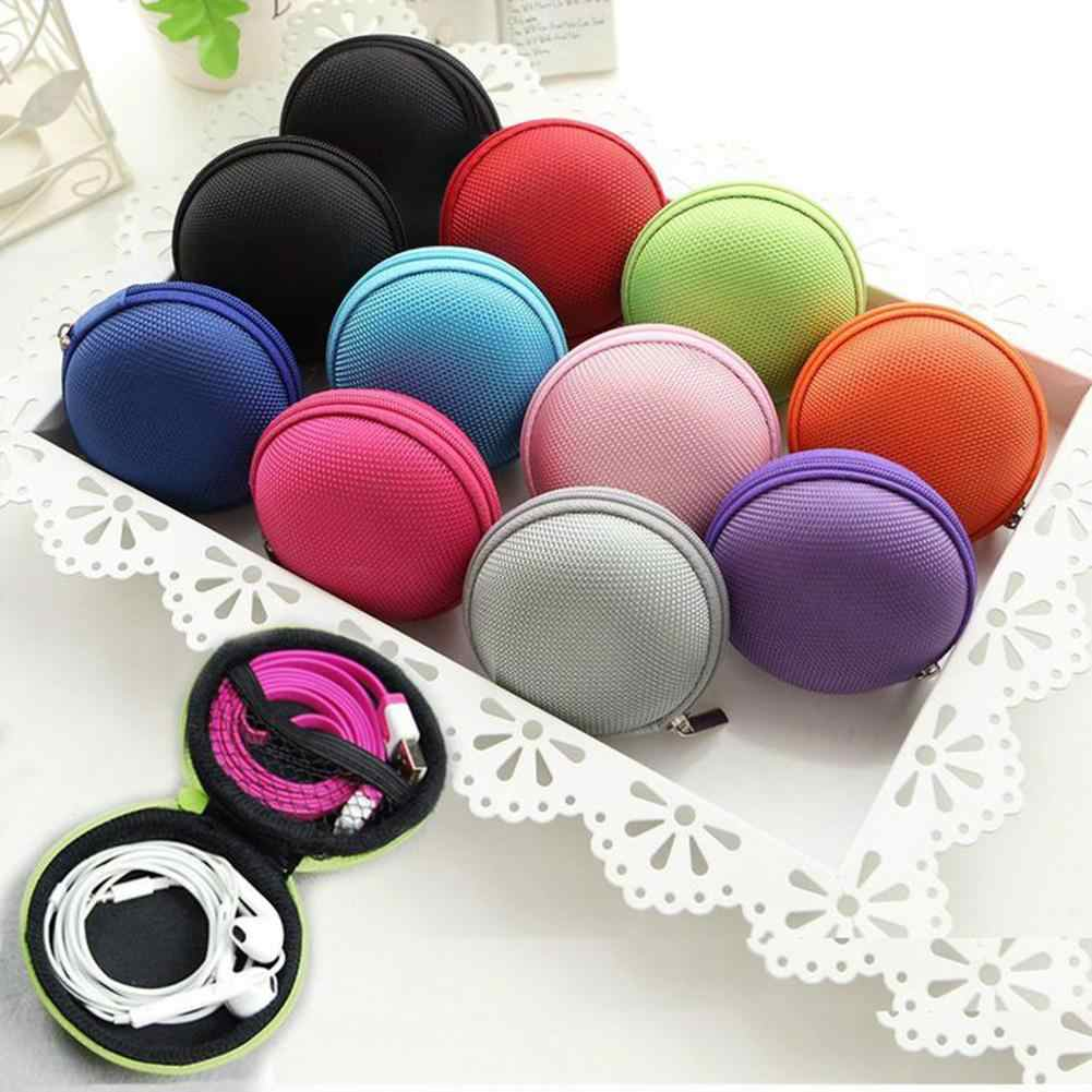 Kekerasan Tinggi Round Zipper Earphone Koin Dompet Tas Penyimpanan Case Organizer Mini Earphone Tas Penyimpanan Portabel Earphone Organizer