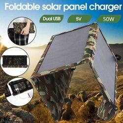 100W Vouwen Zonnepaneel 50W 5V Zon Power Waterdichte Zonnecellen Oplader Dubbele Usb Output Apparaten Draagbare voor Smartphones