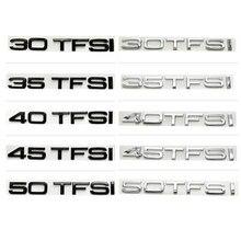 Novo preto prata abs etiqueta do carro letras emblema emblema do logotipo para audi a3 a4 a6 a5 q3 q7 q5 30 tfsi 35 tfsi 40 tfsi 50 tfsi v8t
